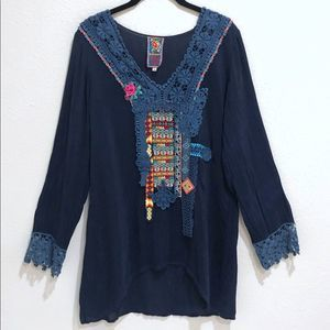 Johnny Was Tunic S Embroidered Floral Tribal Blue